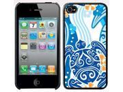 Apple iPhone 4 4S 4G Black 4B117 Hard Back Case Cover Color Blue Sea Turtle Water Wave Flower Design