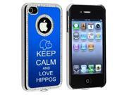 Apple iPhone 4 4S 4G Blue S1093 Rhinestone Crystal Bling Aluminum Plated Hard Case Cover Keep Calm and Love Hippos