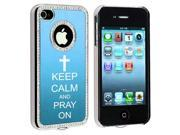 Apple iPhone 4 4S 4G Light Blue S480 Rhinestone Crystal Bling Aluminum Plated Hard Case Cover Keep Calm and Pray On Cross