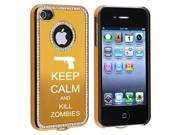Apple iPhone 4 4S 4G Gold S1083 Rhinestone Crystal Bling Aluminum Plated Hard Case Cover Keep Calm and Kill Zombies