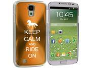 Gold Samsung Galaxy S4 S IV i9500 Aluminum Plated Hard Back Case Cover KK544 Keep Calm and Ride On Horse