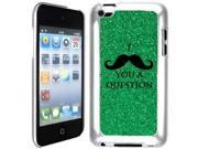 Green Apple iPod Touch 4th Glitter Bling Hard Case Cover GT122 I Mustache You A Question