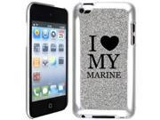 Silver Apple iPod Touch 4th Glitter Bling Hard Case Cover GT103 I Love My Marine 9SIA36Y1VS9986