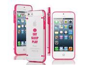 Apple iPhone 5c Ultra Thin Transparent Clear Hard TPU Case Cover Eat Sleep Play Basketball (Hot Pink)