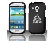 Samsung Galaxy S III S3 MINI i8190 Snap On 2 Piece Rubber Hard Case Cover Triquetra Symbol Celtic Knot (Black)