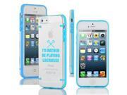 Apple iPhone 4 4s Ultra Thin Transparent Clear Hard TPU Case Cover I'd Rather Be Playing Lacrosse (Light Blue)