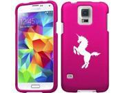 Samsung Galaxy S5 Active G870 Snap On 2 Piece Rubber Hard Case Cover Unicorn (Hot Pink)