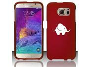 Samsung Galaxy S6 Edge Snap On 2 Piece Rubber Hard Case Cover Baby Elephant (Red)