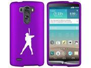 LG G4 Snap On 2 Piece Rubber Hard Case Cover Baseball Player (Purple)