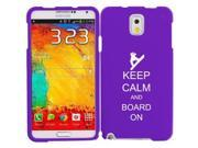 Samsung Galaxy Note 3 Snap On 2 Piece Rubber Hard Case Cover Keep Calm and Board On Snowboard (Purple)