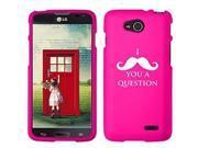 LG Optimus L90 D405 D410 D415 Snap On 2 Piece Rubber Hard Case Cover I Mustache You A Question (Hot Pink)