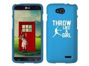 LG Optimus L90 D405 D410 D415 Snap On 2 Piece Rubber Hard Case Cover Throw Like A Girl Softball (Light Blue)