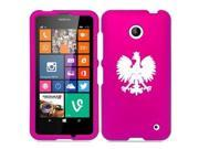 Nokia Lumia 630 635 Snap On 2 Piece Rubber Hard Case Cover Poland Polish Eagle (Hot Pink)