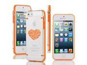 Apple iPhone 5c Ultra Thin Transparent Clear Hard TPU Case Cover Heart Love Technology IT Computer (Orange)