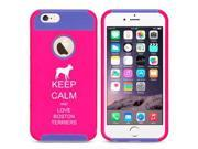 Apple iPhone 5c Shockproof Impact Hard Case Cover Keep Calm And Love Boston Terriers (Hot Pink-Blue)