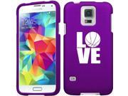 Samsung Galaxy S5 Active G870 Snap On 2 Piece Rubber Hard Case Cover Love Basketball (Purple)