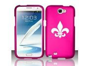 Samsung Galaxy Note 2 Snap On 2 Piece Rubber Hard Case Cover Fleur De Lis (Hot Pink)