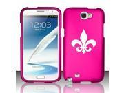 Samsung Galaxy Note 2 Snap On 2 Piece Rubber Hard Case Cover Fleur De Lis (Hot Pink)
