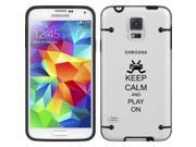 Black Samsung Galaxy Ultra Thin Transparent Clear Hard TPU Case Cover Keep Calm and Play On Hockey (Black for S5)