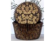 Golda's Kitchen Baking Cups - Damask - Brown/Gold 9SIAD245DX3830
