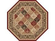 Tayse Rugs Sensation 4770 Red 7 ft. 10 in. Octagon Traditional Area Rug
