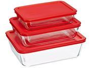 Pyrex 6 piece storage value pack includes, 1-ea 3 cup rectangle dish, 6cup rectangle dish, 11 cup rectangle dish with red plastic covers 9SIV00C58P3146