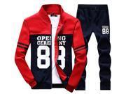 Shefetch Men's Autumn Mens Activewear 2XL,3XL,4XL,L,M,XL Lycra 4 Colors Red L
