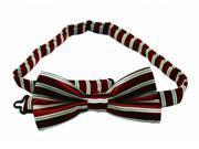 Boys Polyester Bow Tie Dark Red and White Stripe Style Pack Of 2
