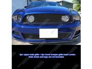 Fits 2013-2014 Ford Mustang GT W/ Fog Cover Black Billet Grille Combo #F61287H