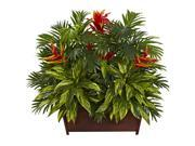 Nearly Natural Tropical Garden With Wood Planter