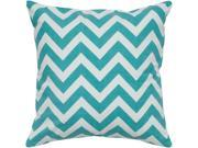 Rizzy Home Pillow Cover With Hidden Zipper In Teal And White [Set of 2]