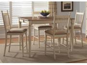 Liberty Furniture Cottage Cove 5 Piece Gathering Table Set in Weathered Ivory & Maple Finish