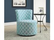 Monarch Specialties Light Blue Lantern Fabric Accent Chair Swivel Base I 8131