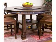 Sunny Designs Santa Fe 60 Inch Round Table with Lazy Susan In Dark Chocolate