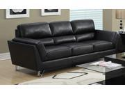Monarch Specialties Black Bonded Leather Match Sofa I 8203BK