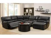 Homelegance Cale 3 Piece Reclining Living Room Set in Black Leather