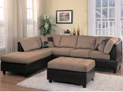 Homelegance Comfort Living Sectional Sofa in Brown & Dark Brown