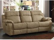 Homelegance Marille Recliner Sofa With Drop Down Cup Holder In Taupe Polyester