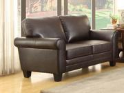 Homelegance Hume Love Seat In Dark Brown Bonded Leather Match