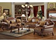 1PerfectChoice Dresden 3Pcs Brown PU Leather Sofa Set Loveseat Chair