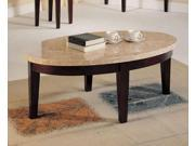 1PerfectChoice Britney Walnut White Oval Coffee Table With Marble Top