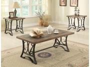 1PerfectChoice Kiele 3pc Slate Top Coffee End Side Table Set Oak Wood Antique Black Metal Base