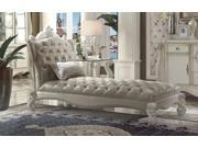 1PerfectChoice Versailles Vintage Gray PU Bone White Chaise With 1 Pillow