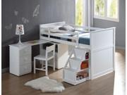 1PerfectChoice Wyatt Youth Children Pull Out Desk Stairway Storage Chest Twin Loft Bed In White
