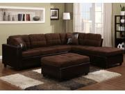 1PerfectChoice Mallory Contemporary Reversible Sectional Sofa Chocolate Microfiber PU Ottoman