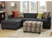 1PerfectChoice 2 PCS Living Room Sectional Sofa Set Reversible Chaise Slate Black Option Ottoman