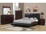 1PerfectChoice Modern Black Faux Leather Full Size Bed With Chrome Legs Curved Footboard