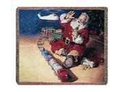 Coca-cola Santa And Train Tapestry Throw