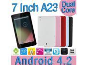 7 inch 2G Phone call Dual Core tablet Allwinner A23 1.2GHz Android 4.2 512MB Ram 4GB Nand Flash Dual Camera Bluetooth WIFI 5 Colors