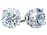 .61 Ctw Diamond Solitaire Earring Studs In 14K White Gold